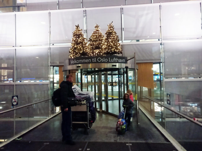 Oslo, OSL, Norway, Airport, Christmas saga, stranded in the airport, diapersonaplane, diapers on a plane, family travel, creating family memories, traveling with kids