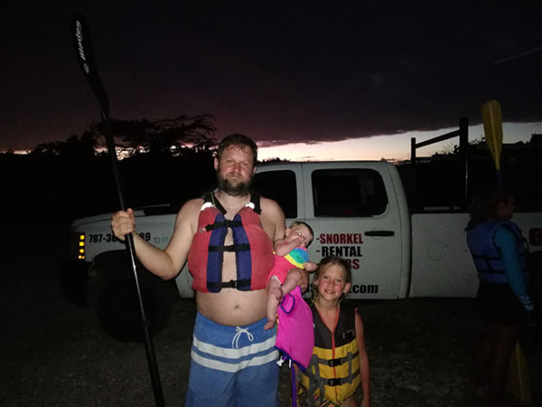 Bioluminescent Bay with kids, mosquito bay, vieques, puerto rico, abe's snorkeling and bio bay tours, traveling with kids, family travel