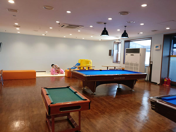 Billards and Kids Play Mat at Spasis: A Korean Jjimjilbang with Kids