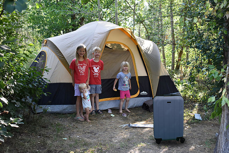 Tent Set up at Anderson Cove Campground with the perfect suitcase carry on for kids